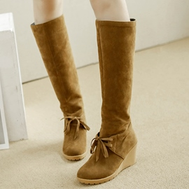 Ericdress Pretty Suede Wedge Heel Knee High Boots