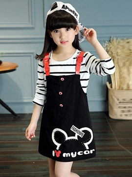 Ericdress Patchwork Straps Strips Printing Two-Piece Girls Outfit