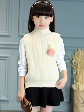 Ericdress High Collar Knitting Vest Girls Top