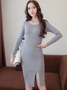 Ericdress Solid Color Split Knitted Sheath Dress