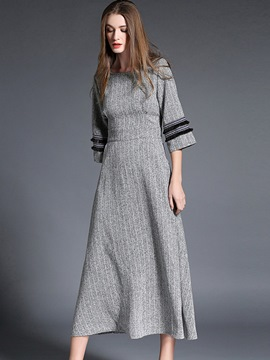 Ericdress Stripe Patchwork Pleated Maxi Dress