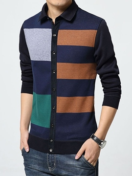 Ericdress Color Block Cardigan Vogue Men's Sweater