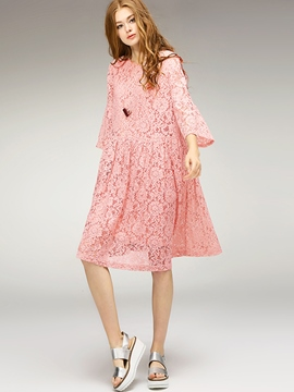 Ericdress A-Line Flare Sleeve Embroidery Lace Dress