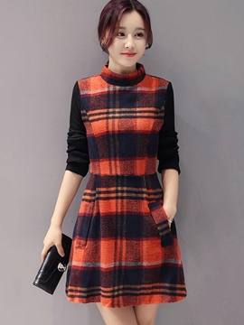 Ericdress Plaid Pocket Stand Collar Casual Dress