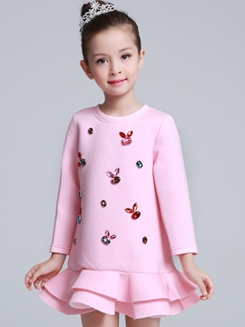 Ericdress Diamond Appliques Double Falbala Girls Dress