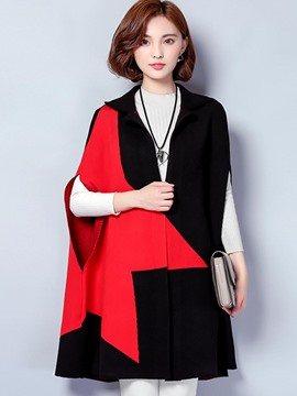 Ericdress Color Block Asymmetric V-Neck Trench Coat