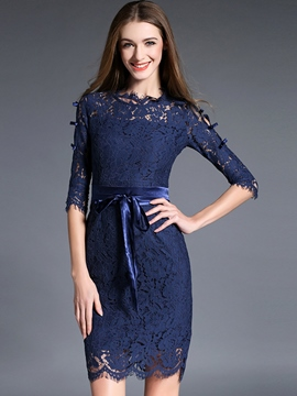 Ericdress Plain Half Sleeve Patchwork Lace Dress