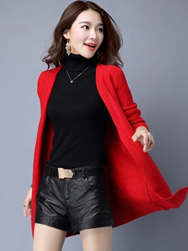 Ericdress Solid Color Slim Wrapped Cardigan Knitwear
