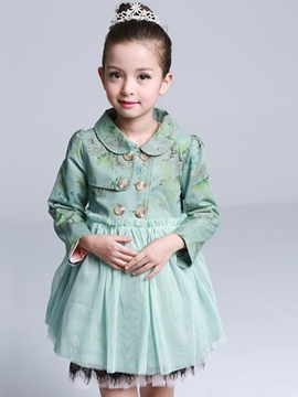 Ericdress Peter Pan Collar Double-Breasted Mesh Patch Girls Dress