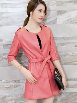 Ericdress Solid Color PU Slim Jacket