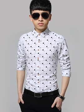 Ericdress Vogue Plaid Long Sleeve Formal Slim Men's Shirt