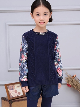 Ericdress Floral Fabric Patch Tee Long Girls Top
