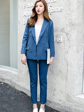 Ericdress Solid Color Double-Breasted Blazer Suit