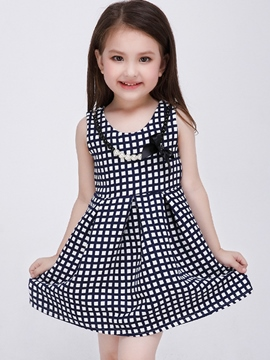 Ericdress Lattice Necklace Pleated Girls Dress