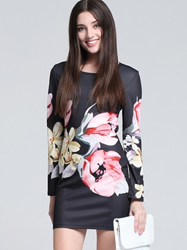 Ericdress Flower Print Round Neck Bodycon Dress