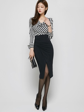 Ericdress Fashion Stripe Blouse Suit