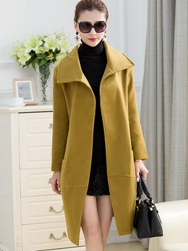 Ericdress Solid Color Loose Elegant Coat