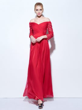 Ericdress Off-The-Shoulder Pleats Sashes Evening Dress
