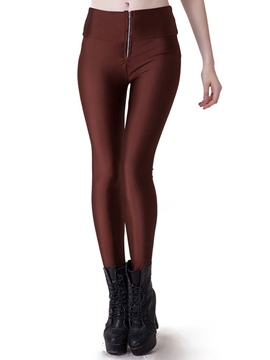 Ericdress Solid Color Skinny Zipper Leggings Pants