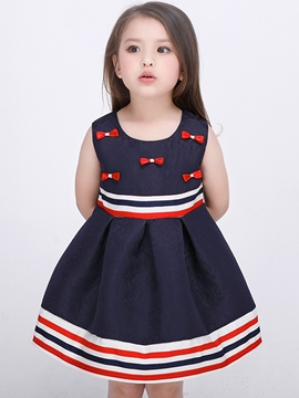 Ericdress Strips Patch Bowknot Pleated Girls Dress