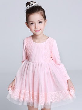 Ericdress Lace Patchwork Princess Girls Dress