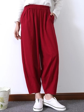 Ericdress Solid Color Lantern Pants