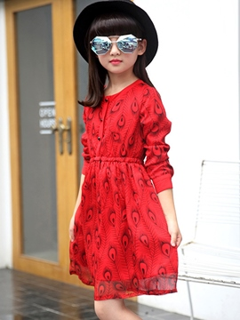 Ericdress Feather Printing Button Cowl-Neck Girls Dress