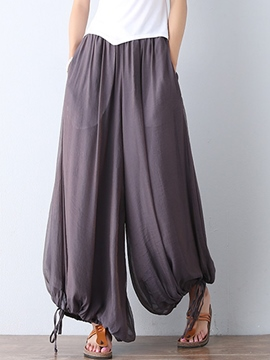 Ericdress Chinese Pastoral Pleated Wide Legs Pants