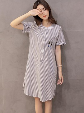 Ericdress Fine Stripe Long Blouse