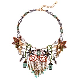 Ericdress Flower & Birds Design Tassel Necklace