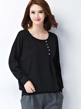Ericdress Button Detail Loose T-Shirt