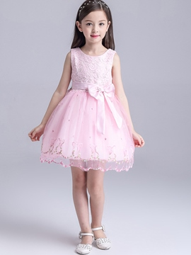 Ericdress Lace Patch Embroidery Belt Girls Dress