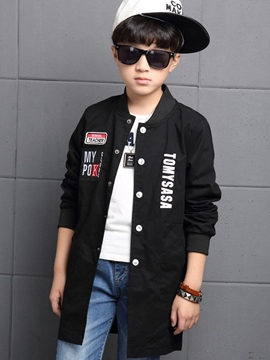 Ericdress Letter Embroidery Button Collarless Boys Outerwear