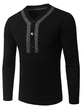 Ericdress Button V-Neck Slim Men's Sweater
