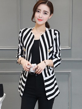 Ericdress Slim Stripped Blazer