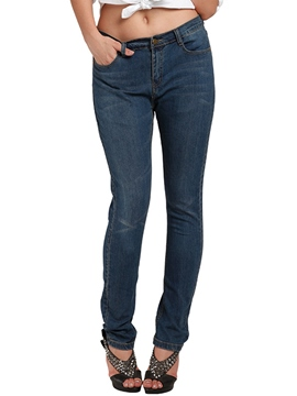 Ericdress Solid Color High-Rise Jeans