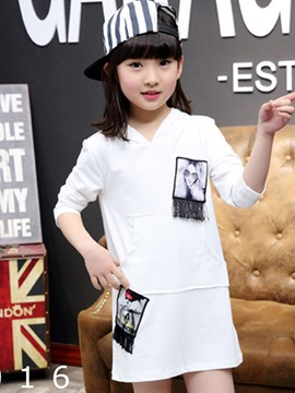 Ericdress Photos Patch Tassel Large Pocket Girls Top
