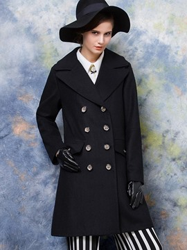 Ericdress Black Double-Breasted Polo Coat