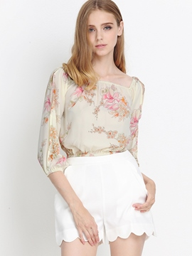 Ericdress Printed Oblique Blouse