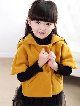 Ericdress Ears Cloak Hooded Button Girls Top