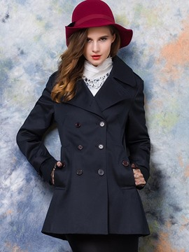 Ericdress Slim Black Double-Breasted Coat