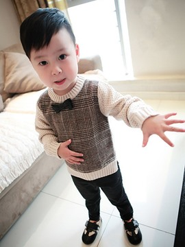 Ericdress Knitting Lattice Patch Bowknot Boys Outerwear