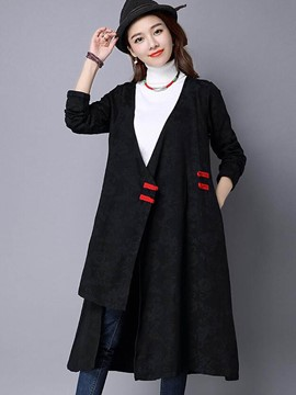 Ericdress Loose V-Neck Casual Trench Coat