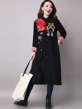 Ericdress Pliad Patchwork Printed Trench Coat
