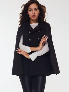 Ericdress Solid Color Double-Breasted Cape