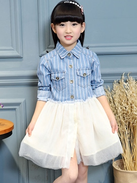 Ericdress Lapel Collar Cardigan Mesh Patchwork Girls Dress