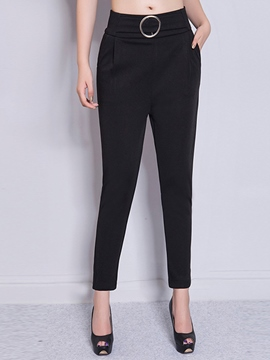 Ericdress Plain Color High-Waist Zipper Slim Pants