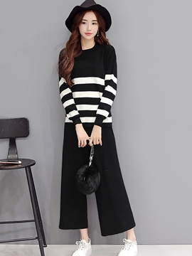 Ericdress Casual Stripe Knitwear Suit