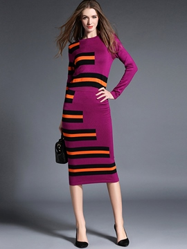 Ericdress Color Block Knitwear Skirt Suit