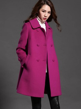 Ericdress Solid Color Loose Double-Breasted Coat